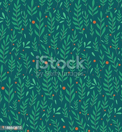 Seamless flat pattern with branches, leaves and berries on a dark green background. Natural simple floral backdrop. Natural tapestry wallpaper. Vector texture for fabric, pattern and your creativity.