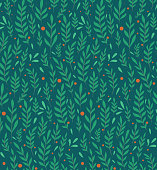 istock Seamless flat pattern with branches, leaves and berries on a dark green background. Natural simple floral backdrop. Natural tapestry wallpaper. Vector texture 1188843812