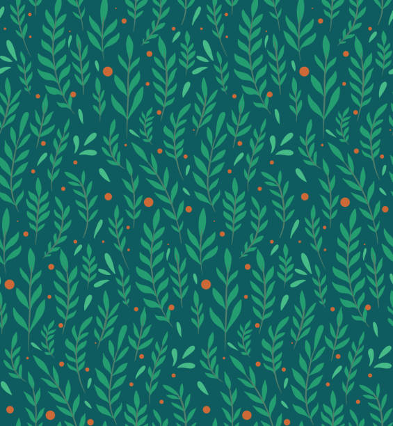 Seamless flat pattern with branches, leaves and berries on a dark green background. Natural simple floral backdrop. Natural tapestry wallpaper. Vector texture Seamless flat pattern with branches, leaves and berries on a dark green background. Natural simple floral backdrop. Natural tapestry wallpaper. Vector texture for fabric, pattern and your creativity. tapestry stock illustrations