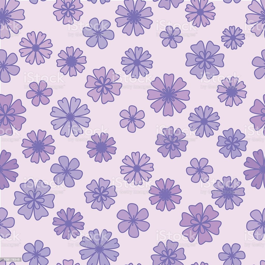 Vetores De Seamless Flat Violet Flower Background Vector Floral Wallpaper E Mais Imagens De Abstrato Istock