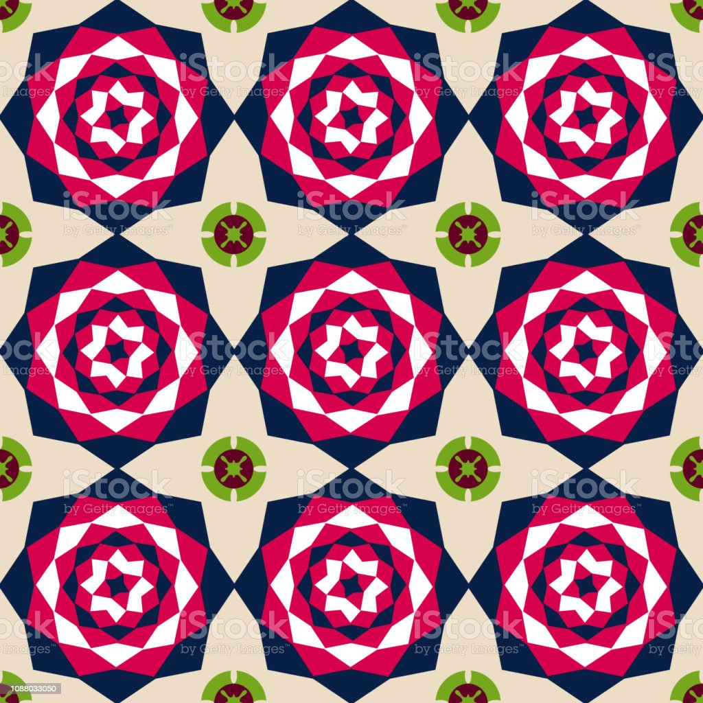 Seamless Floral Abstract Geometric Pattern Background Vintage