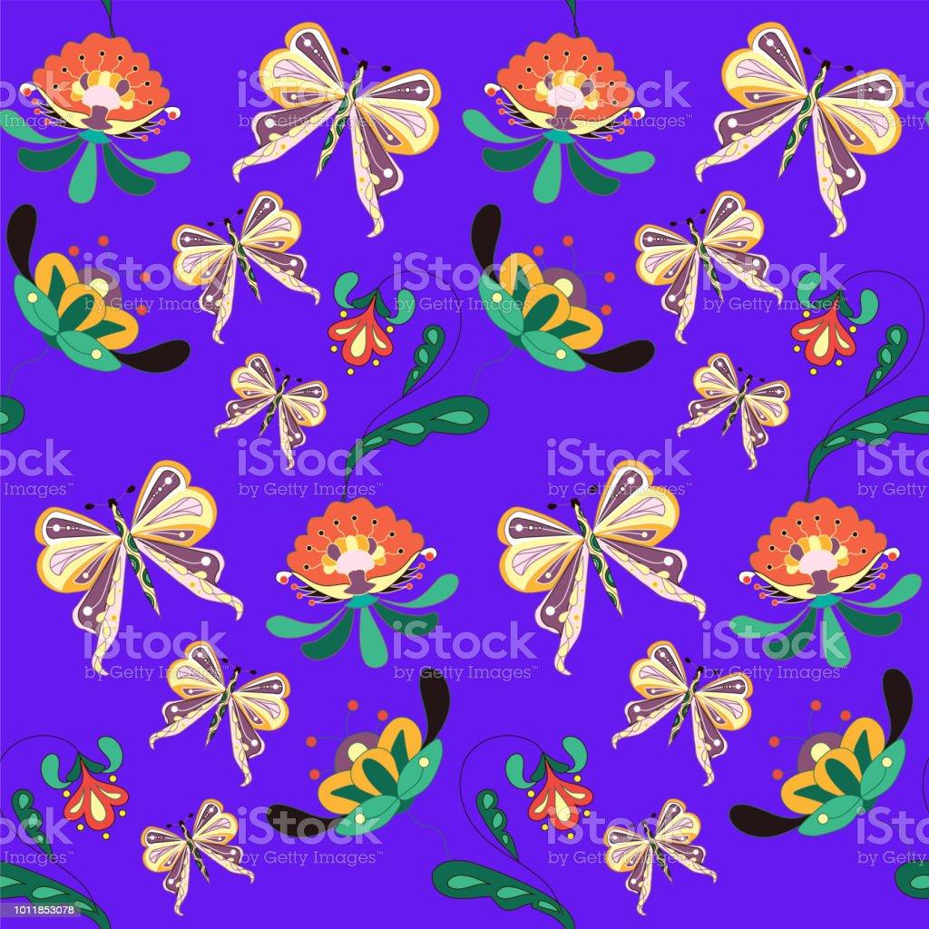 Sorunsuz Imkani Cicek Ve Kelebek Desen Beyaz Boyama Stok Vektor