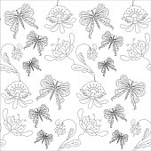 Seamless floral and butterfly monochrome pattern