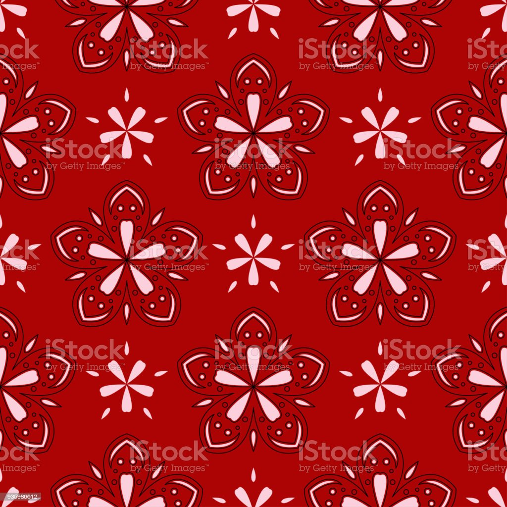 Seamless Floral Background Black And White Pattern On Red Backdrop Royalty Free