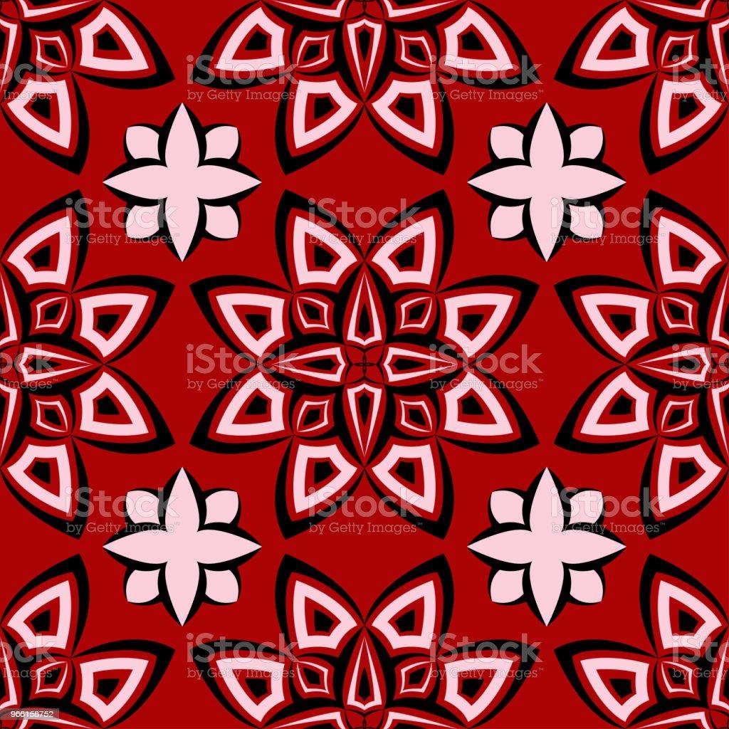 Sömlös blommig bakgrund. Svart och vitt mönster på röd bakgrund - Royaltyfri Abstrakt vektorgrafik