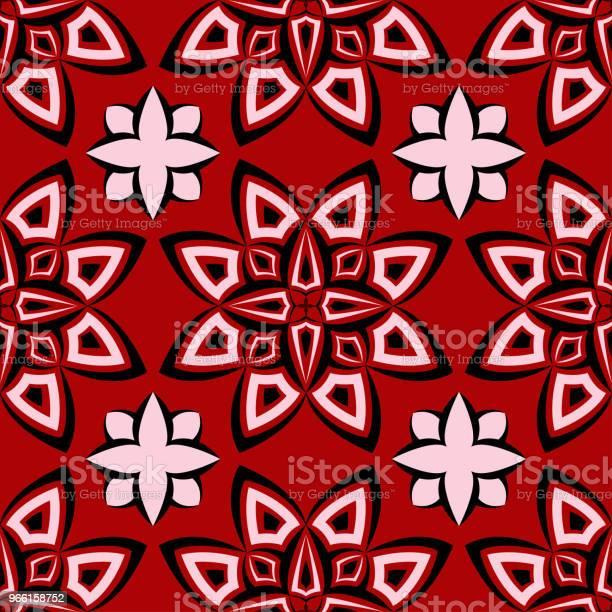 Sömlös Blommig Bakgrund Svart Och Vitt Mönster På Röd Bakgrund-vektorgrafik och fler bilder på Abstrakt