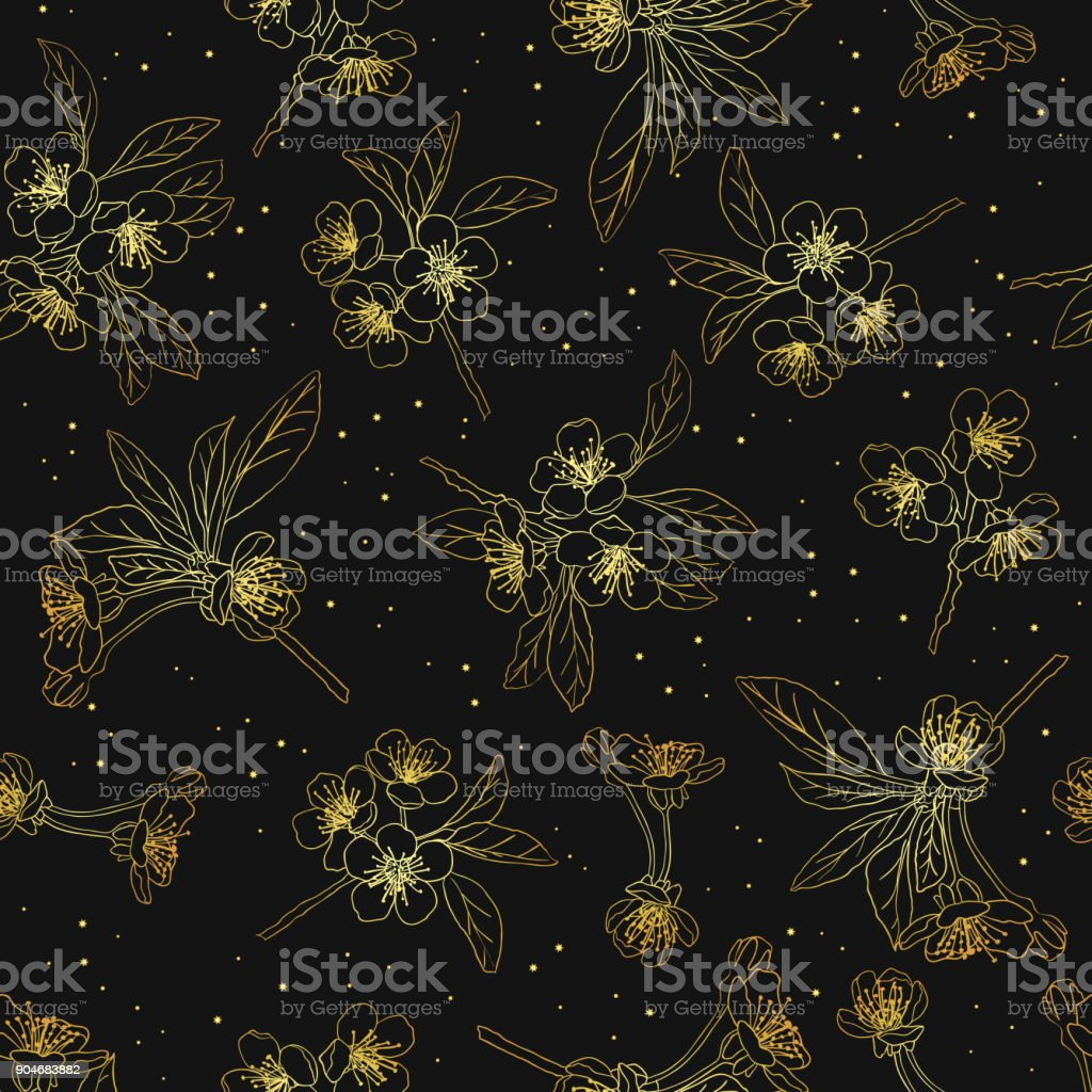Seamless Floral Background Cherry Blossoms Blooming Cherry Golden