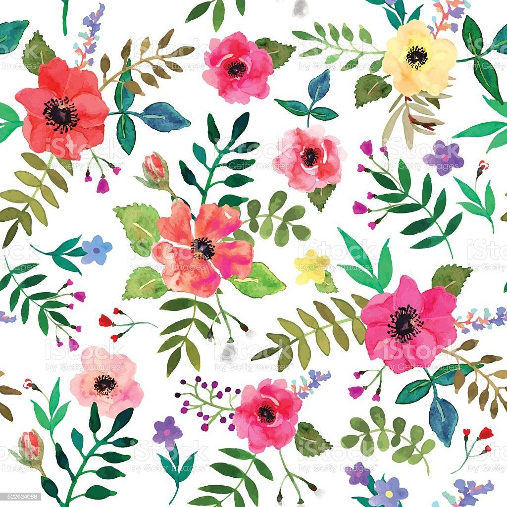 Ilustración De Sin Costura Flores Fondo Aislado Rojo Y