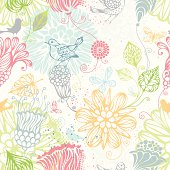 Ornate bright pattern with flowers, butterflies and birds for your design. Can be used for wrapping paper. EPS 8.