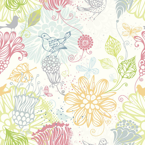 Seamless floral background Ornate bright pattern with flowers, butterflies and birds for your design. Can be used for wrapping paper. EPS 8. bird backgrounds stock illustrations