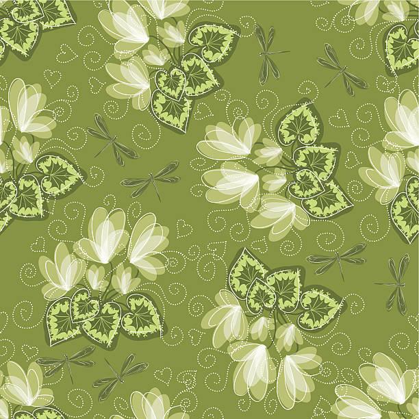 nahtlose floral hintergrund - alpenveilchen stock-grafiken, -clipart, -cartoons und -symbole