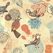 Ornate floral elements and birds for your design. Can be used for wrapping paper. EPS 8.