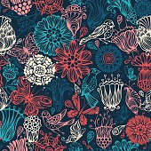 Ornate flowers, butterflies and birds for your design. Can be used for wrapping paper. EPS 8.