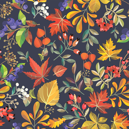 Seamless Floral Background - Immagini vettoriali stock e altre immagini di Autunno