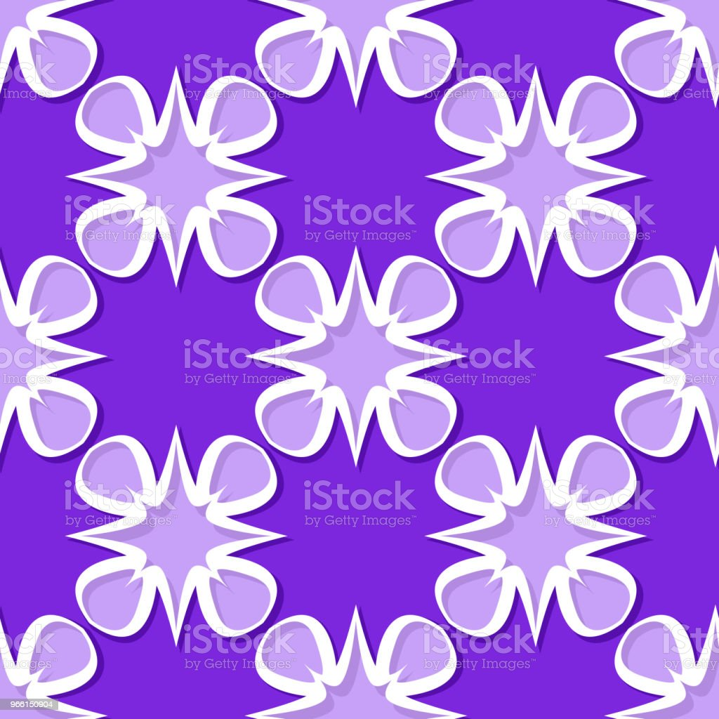Naadloze florale achtergrond. Violet en Lila 3D-patroon - Royalty-free Abstract vectorkunst