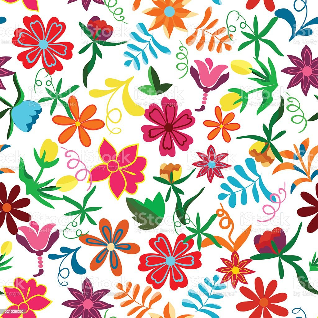 Seamless floral background.Colorful flowers and leafs on white background. vector art illustration
