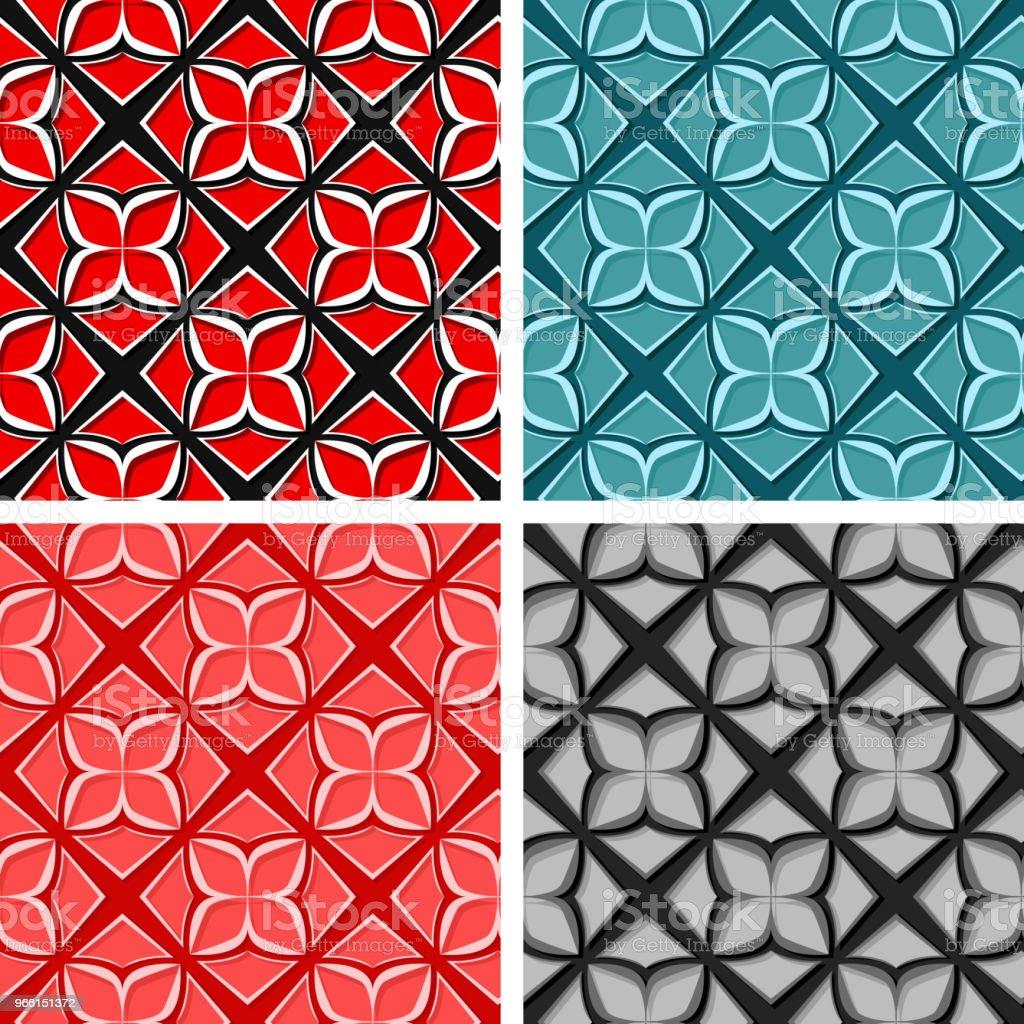 Sömlös blommiga bakgrunder. Uppsättning färgade 3d mönster - Royaltyfri Abstrakt vektorgrafik