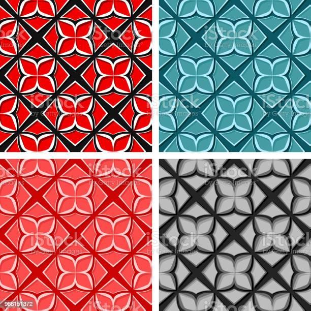Sömlös Blommiga Bakgrunder Uppsättning Färgade 3d Mönster-vektorgrafik och fler bilder på Abstrakt