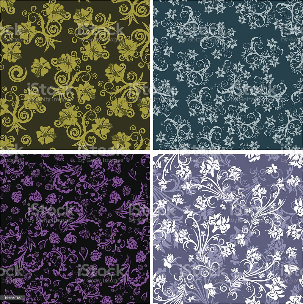 seamless floral backgrounds set royalty-free stock vector art
