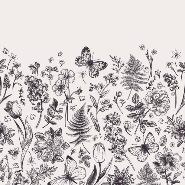 Seamless floral border. vector art illustration