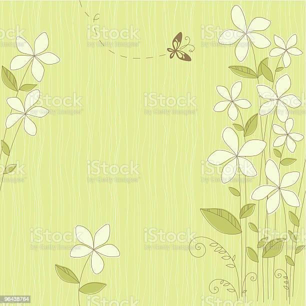 Vetores de Cartão Sem Costura Floral Verde e mais imagens de Borboleta