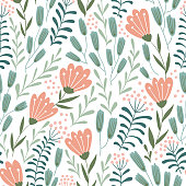 Seamless floral design with hand-drawn wild flowers. Repeated pattern can be used for web page background, surface textures and fabrics. Vector illustration.