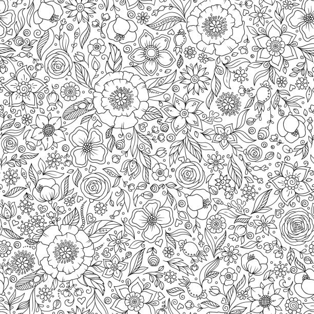 Seamless floral doodle background pattern in vector. Seamless floral doodle background pattern in vector. Black and white background. Coloring book. só adultos stock illustrations