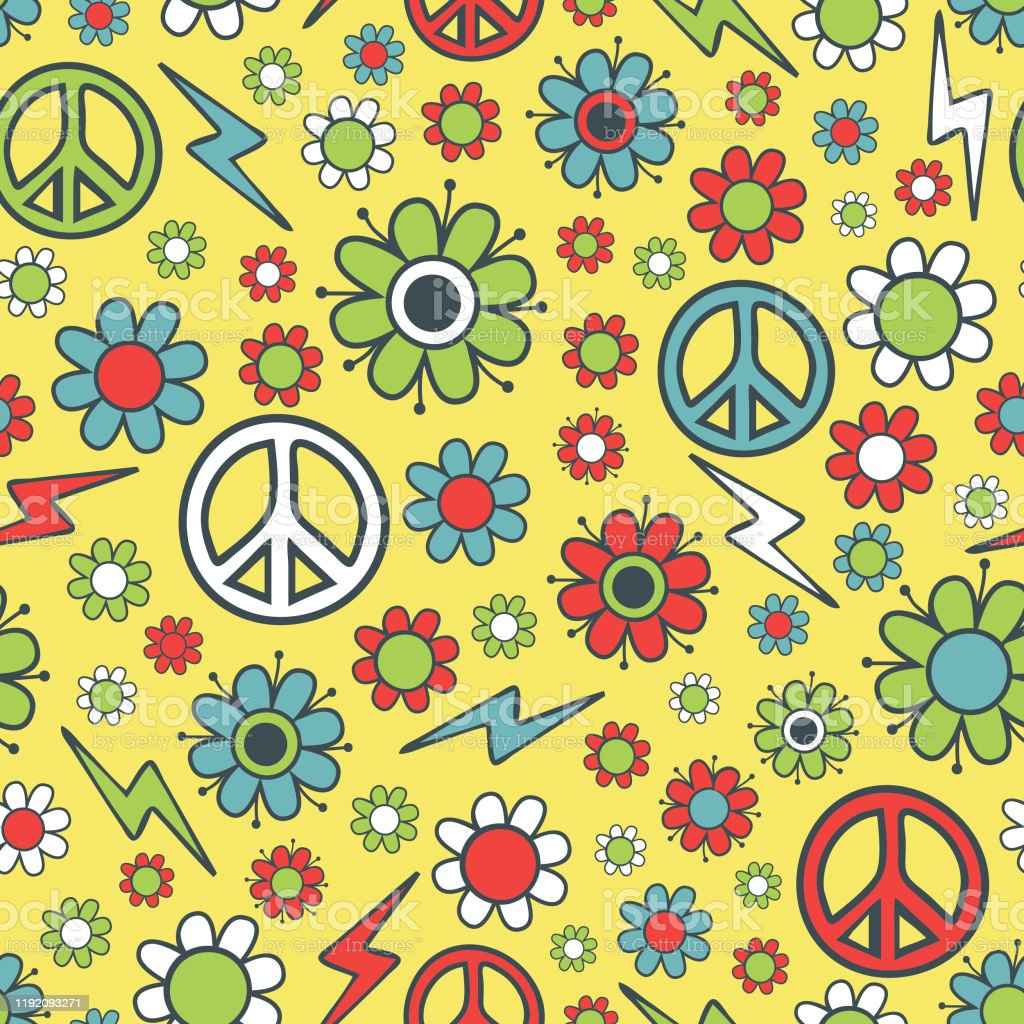 Seamless Floral Hippy Vector Pattern On Light Yellow Background