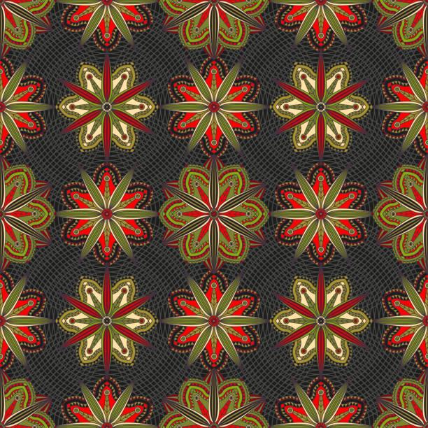 nahtlose floralen mandala-muster in rot, schwarz und grün. - pashminas stock-grafiken, -clipart, -cartoons und -symbole