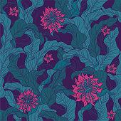 A seamless floral motif wallpaper pattern in green & magenta