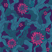 A seamless floral motif wallpaper pattern in green & magenta