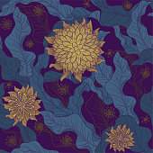 A seamless floral motif wallpaper pattern in purple & gold