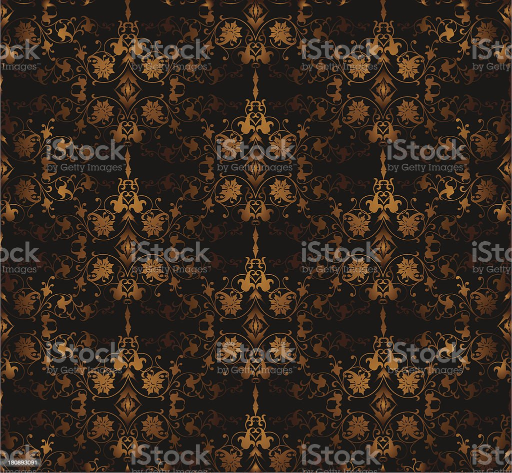 Seamless floral on a brown background. Vector royalty-free stock vector art