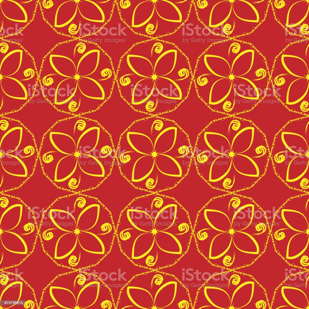Seamless floral ornament abstract yellow flowers on a red background abstract yellow flowers on a red background royalty free seamless mightylinksfo