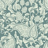 Seamless vector floral victorian background. Decorative vintage backdrop for fabric, textile, wrapping paper, card, invitation, wallpaper, web design