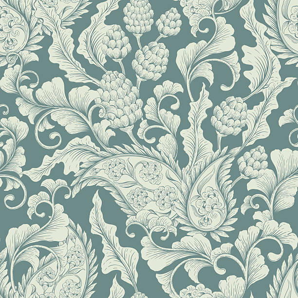 シームレスな花のオーナメント - ロココ調点のイラスト素材/クリップアート素材/マンガ素材/アイコン素材