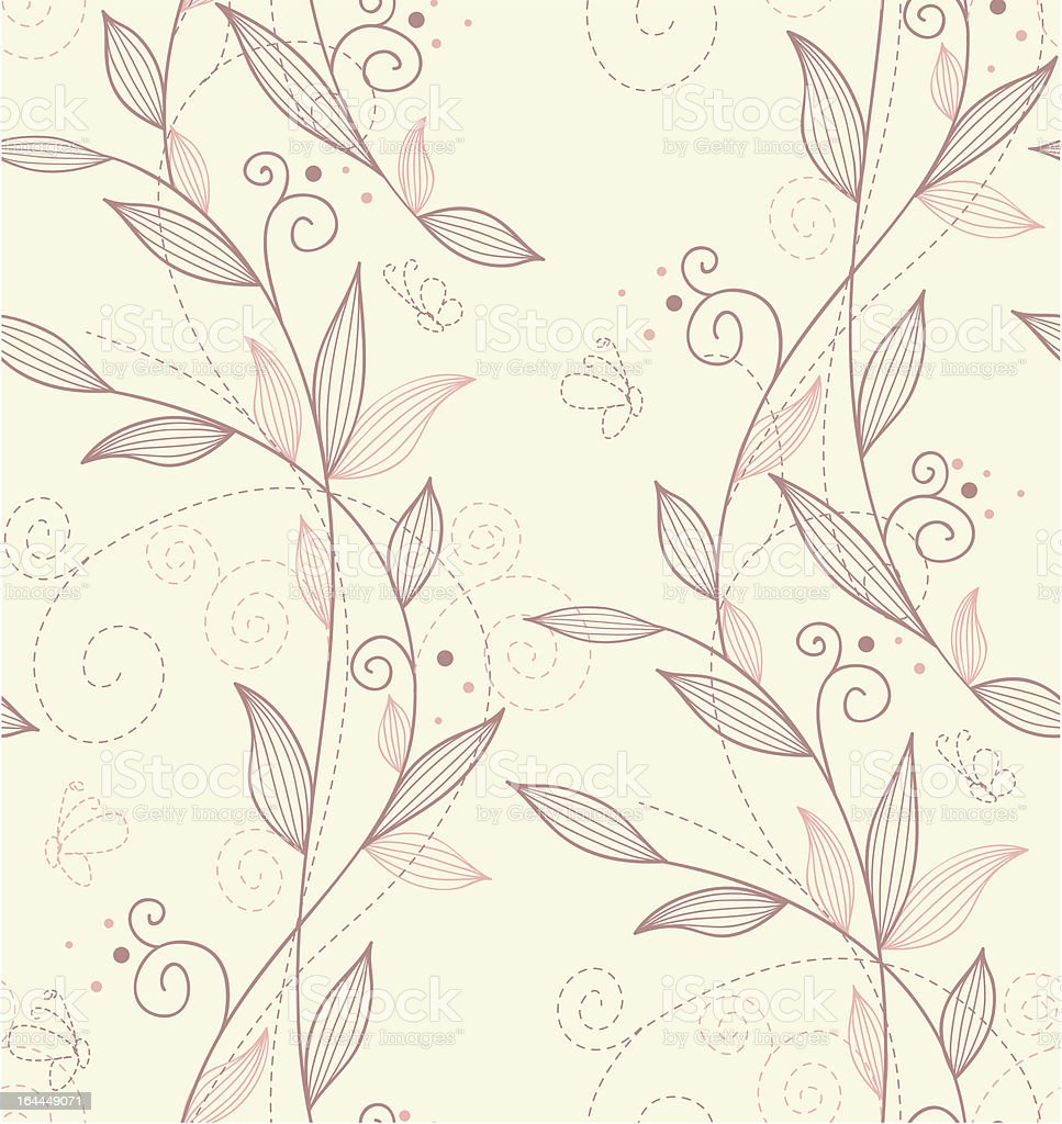 Seamless floral outline pattern background royalty-free stock vector art