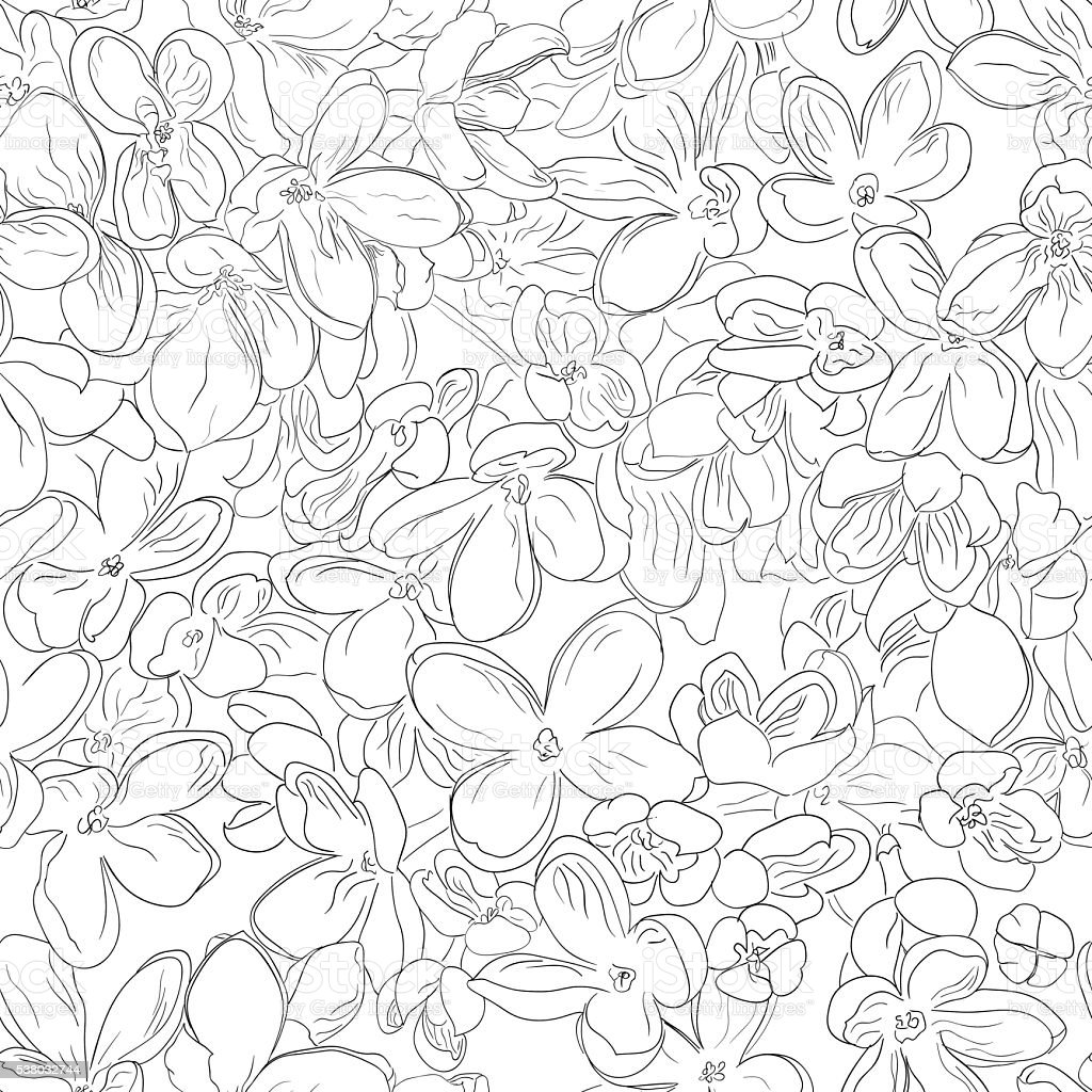 Seamless Floral Pattern Background Outline Black On White Lilac