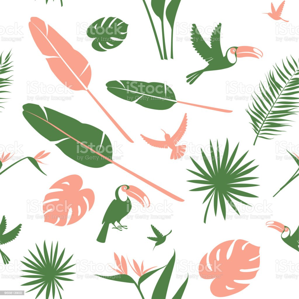 Seamless Floral Pattern Background Tropical Flowers Jungle Palm