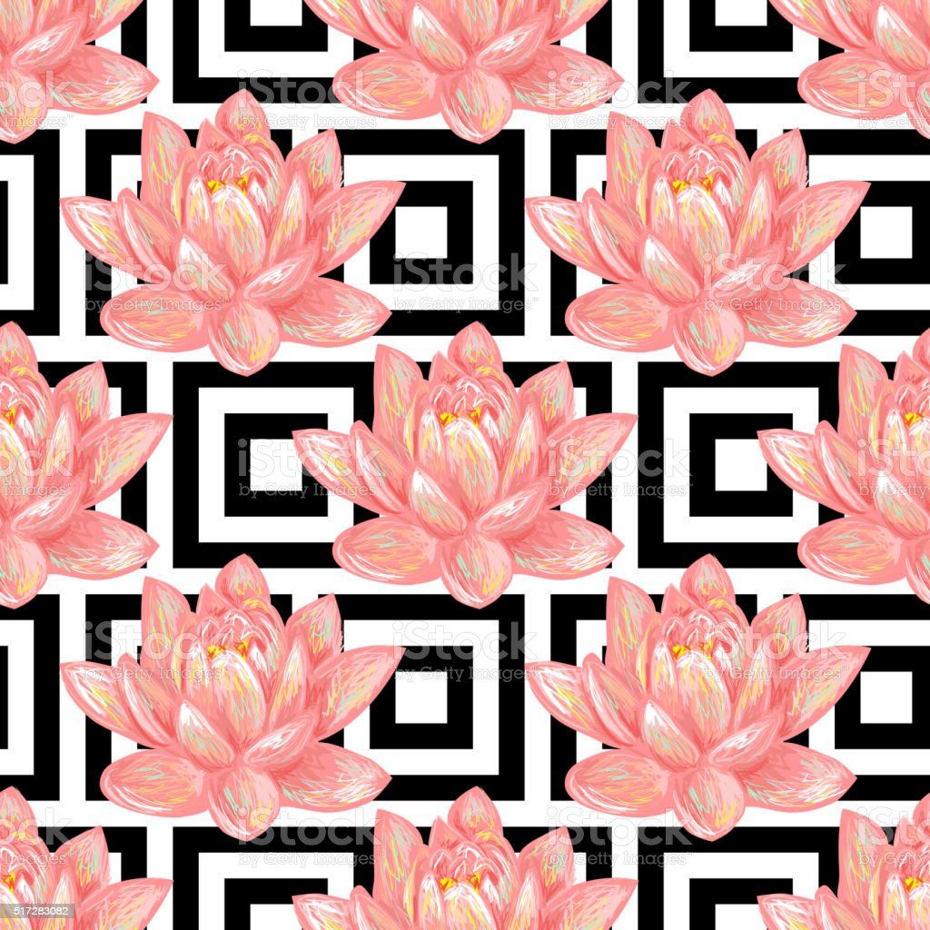 Seamless floral pattern background with tropical pink lotus vector art illustration