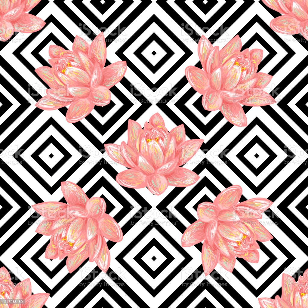 Seamless Floral Pattern Background With Tropical Pink Lotus Stock