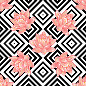 Seamless floral pattern background with tropical pink lotus flower vector background. Perfect for wallpapers, pattern fills, web page backgrounds, surface textures, textile