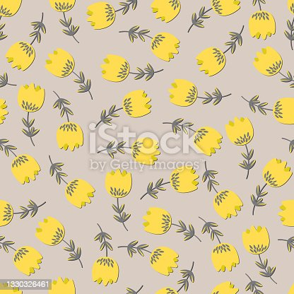 istock Seamless floral pattern based on traditional folk art ornaments. Colorful flowers on light background. Scandinavian style. Sweden nordic style. Vector illustration. Simple minimalistic pattern 1330326461