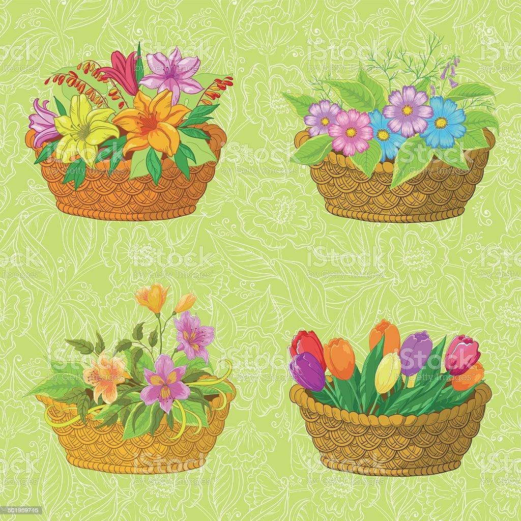 Patrón sin costuras floral, cestas con flores - ilustración de arte vectorial