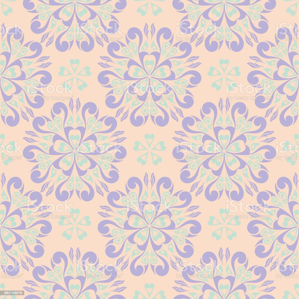Seamless floral pattern. Beige violet and blue background royalty-free seamless floral pattern beige violet and blue background stock vector art & more images of abstract