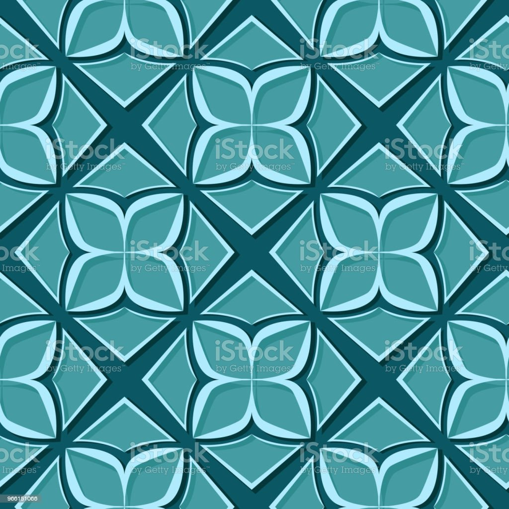 Sömlös blommönster. Blå grön 3d-konstruktioner - Royaltyfri Abstrakt vektorgrafik