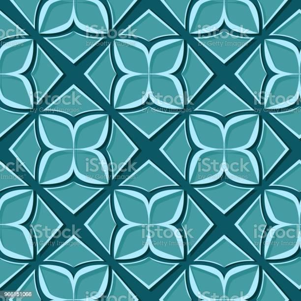 Sömlös Blommönster Blå Grön 3dkonstruktioner-vektorgrafik och fler bilder på Abstrakt
