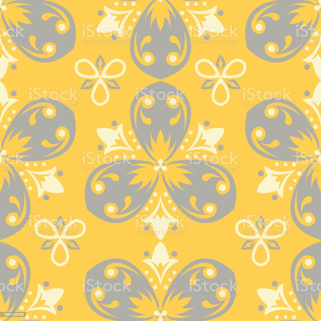 Seamless floral pattern. Bright yellow background with flower designs - Royalty-free Abstract stock vector