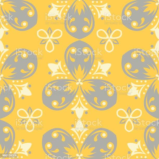 Sömlös Blommönster Ljus Gul Bakgrund Med Blomma Mönster-vektorgrafik och fler bilder på Abstrakt