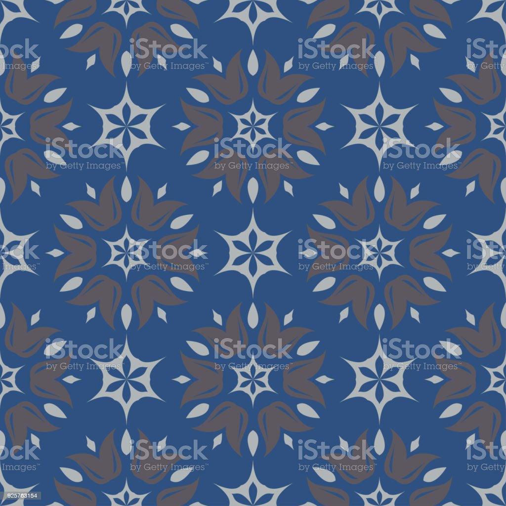 Motif Floral Sans Soudure Fond Bleu Fonce Avec Des Dessins De Fleurs
